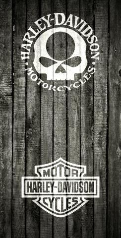 Harley Davidson Woodslat White Themed Custom Cornhole Board Design