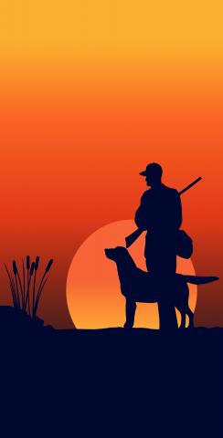 Hunter and his Dog at Dawn