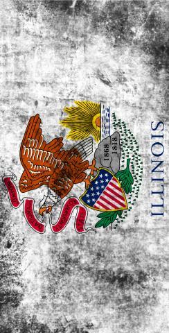 Worn State (Illinois) Flag Themed Custom Cornhole Board Design