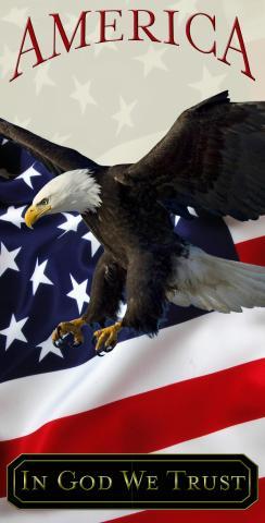 In God We Trust Bald Eagle Themed Custom Cornhole Board Design