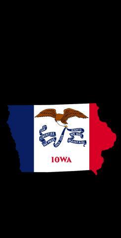 Iowa State Flag Outline (Black Background) Themed Custom Cornhole Board Design