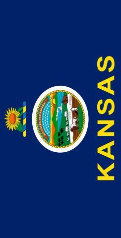 Kansas State Flag Themed Custom Cornhole Board Design