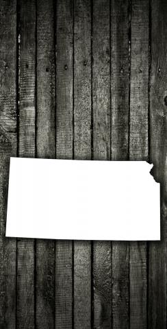 Wood Slat State (Kansas) Themed Custom Cornhole Board Design