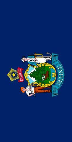 Maine State Flag Themed Custom Cornhole Board Design