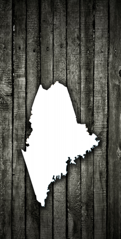 Wood Slat State (Maine) Themed Custom Cornhole Board Design