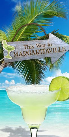 Margaritaville Themed Custom Cornhole Board Design