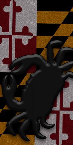 Maryland Flag Black Crab Themed Custom Cornhole Board Design