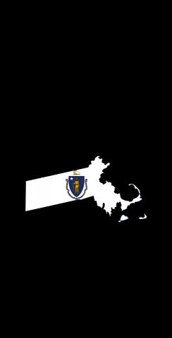 Massachusetts State Flag Outline (Black Background) Themed Custom Cornhole Board Design