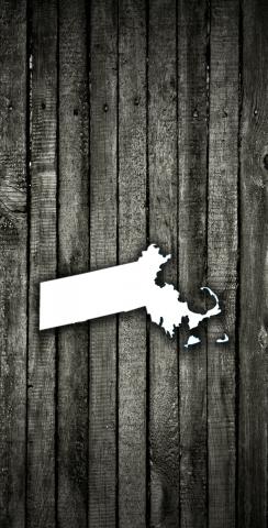 Wood Slat State (Massachusetts) Themed Custom Cornhole Board Design