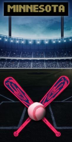 Minnesota Baseball Themed Custom Cornhole Board Design