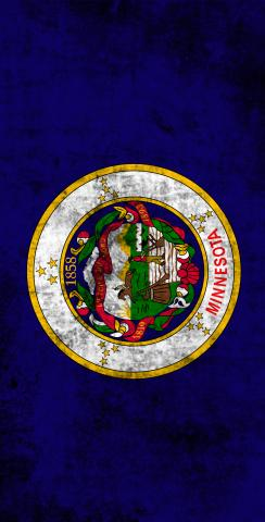 Worn State (Minnesota) Flag Themed Custom Cornhole Board Design