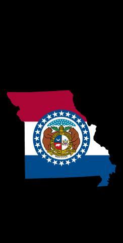 Missouri State Flag Outline (Black Background) Themed Custom Cornhole Board Design