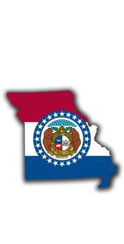 Missouri State Flag Outline (White Background) Themed Custom Cornhole Board Design