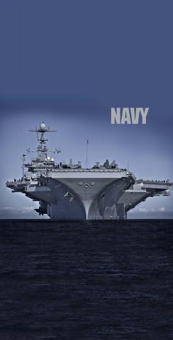 Navy Carrier on The Open Ocean Themed Custom Cornhole Board Design
