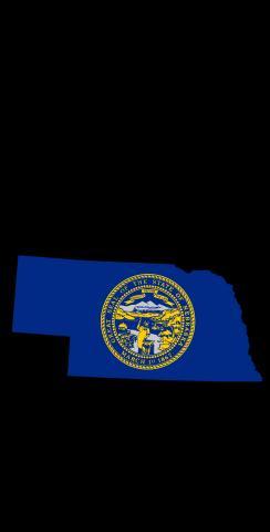 Nebraska State Flag Outline (Black Background) Themed Custom Cornhole Board Design