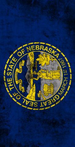 Worn State (Nebraska) Flag Themed Custom Cornhole Board Design