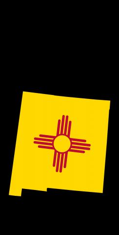 New Mexico State Flag Outline (Black Background) Themed Custom Cornhole Board Design