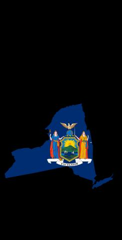 New York State Flag Outline (Black Background) Themed Custom Cornhole Board Design