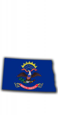 North Dakota State Flag Outline (White Background) Themed Custom Cornhole Board Design