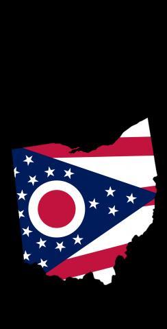 Ohio State Flag Outline (Black Background) Themed Custom Cornhole Board Design