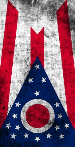 Worn State (Ohio) Flag Themed Custom Cornhole Board Design