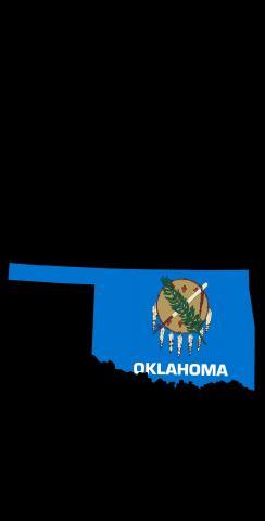Oklahoma State Flag Outline (Black Background) Themed Custom Cornhole Board Design
