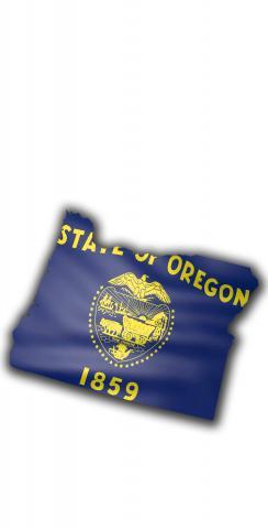 Oregon State Flag Outline (White Background)Themed Custom Cornhole Board Design