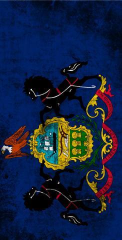 Worn State (Pennsylvania) Flag Themed Custom Cornhole Board Design