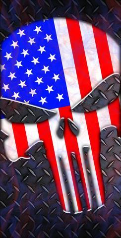 Punisher American Flag Themed Custom Cornhole Board Design