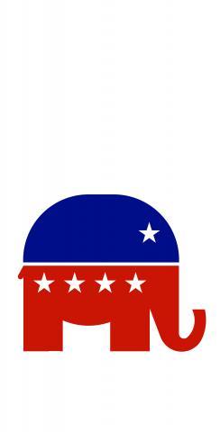 Republican Elephant Themed Custom Cornhole Board Design