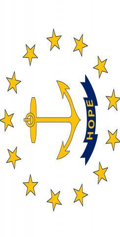 Rhode Island State Flag Themed Custom Cornhole Board Design