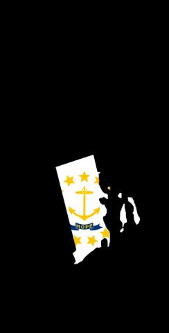 Rhode Island State Flag Outline (Black Background) Themed Custom Cornhole Board Design