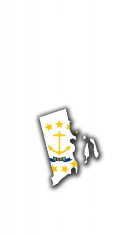Rhode Island State Flag Outline (White Background) Themed Custom Cornhole Board Design