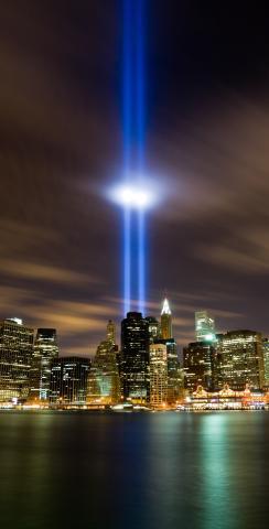 September 11th Light Memorial #2 Themed Custom Cornhole Boards