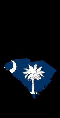 South Carolina State Flag Outline (Black Background) Themed Custom Cornhole Board Design