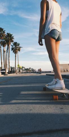 Sunny Day Skate Boarding Girl Themed Custom Cornhole Board Design