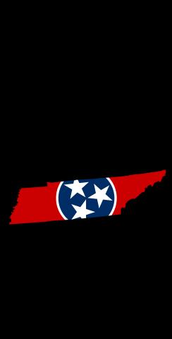 Tennessee State Flag Outline (Black Background) Themed Custom Cornhole Board Design