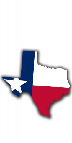Texas State Flag Outline (White Background) Themed Custom Cornhole Board Design
