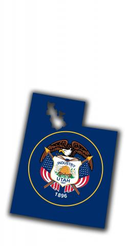 Utah State Flag Outline (White Background) Themed Custom Cornhole Board Design