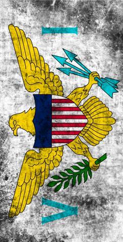 Worn National (Virgin Islands) Flag Themed Custom Cornhole Board Design