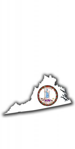 Virginia State Flag Outline (White Background) Themed Custom Cornhole Board Design