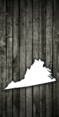 Wood Slat State (Virginia) Themed Custom Cornhole Board Design