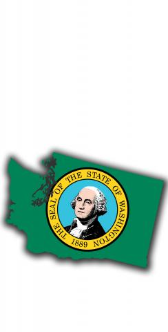 Washington State Flag Outline (White Background) Themed Custom Cornhole Board Design