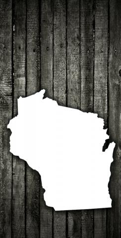 Wood Slat State (Wisconsin) Themed Custom Cornhole Board Design