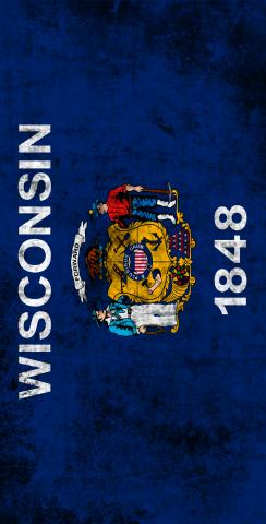 Worn State (Wisconsin) Flag Themed Custom Cornhole Board Design
