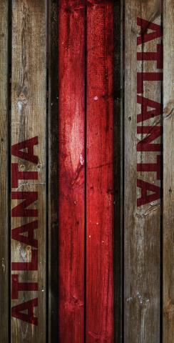 Woodslat Worn Atlanta Football Themed Custom Cornhole Board Design