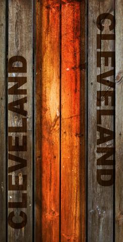 Woodslat Worn Cleveland Football Themed Custom Cornhole Board Design