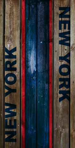 Woodslat Worn New York 1 Football Themed Custom Cornhole Board Design