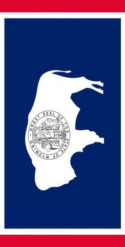 Wyoming State Flag Themed Custom Cornhole Board Design