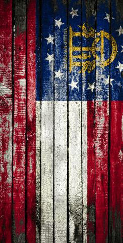Distressed Wood Flag (Georgia) Themed Custom Cornhole Board Design